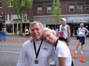 Al & Sandy at the finish line of the Olympia Marathon, in Wash.