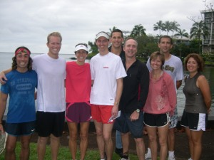 Winners of the Emily Wedeman 5-miler pose with host Joe Wedemann (center)