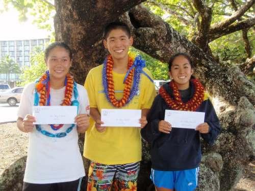 Keaau's Amy Eriksson, Waiakea's Bryce Harada & Kam's Kaitlyn Yamamoto