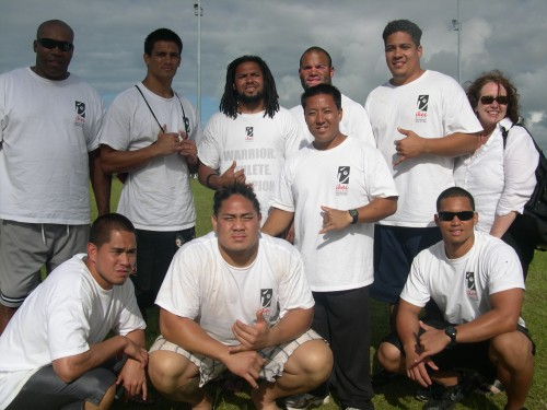 Seth Joyner, Timmy Chang, J.D. Runnels, along with other football stars worked at Keaau in the Chade Ikei Performance Football Camp