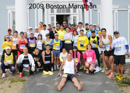 Runners from around the State of Hawaii pose prior to the start of the 2009 Boston Marathon