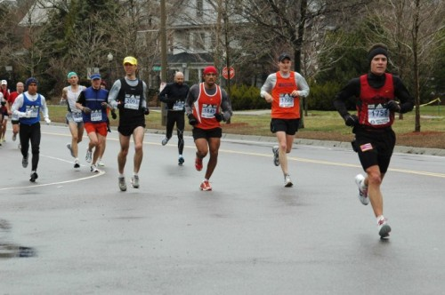 Volcano resident, Lyman Perry, leads a pack at mile 20 of the Boston Marathon