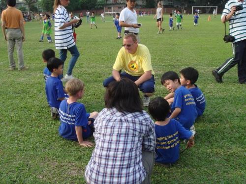 Michael Chandler teaching soccer in Taipei