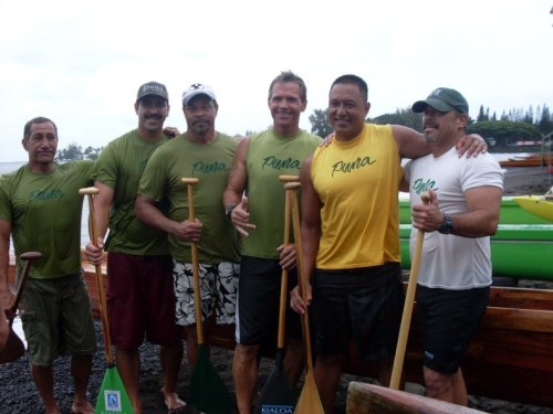 Puna Canoe Club is hoping to pocket some age group titles.  Coach Afa Tuaolo, far left