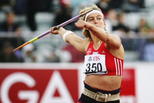 Steffi Nerius of Germany wins the Javelin event