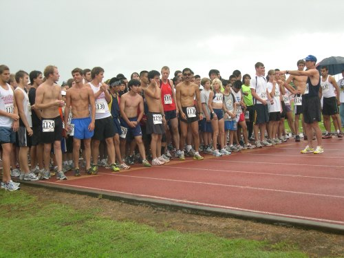 Runners receive final instructions from the Big Dog prior to start