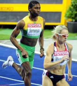 Caster Semenya on her way to winning the 800 in Berlin