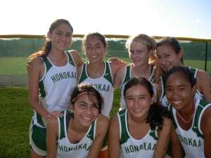 Honokaa girls, led by Tia Greenwell and Athena Oldfather