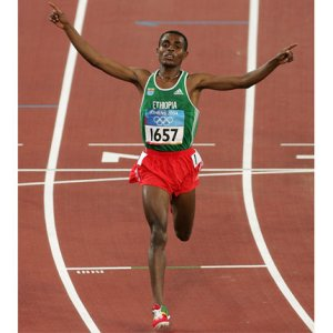 Kenenisa Bekele holds world records in the 5000 and 10000 meter races